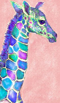 Baby Giraffe Pink And Purple Poster by Jane Schnetlage. All posters are professionally printed, packaged, and shipped within 3 - 4 business days. Choose from multiple sizes and hundreds of frame and mat options. Giraffe Drawing, Giraffe Painting, Giraffe Art, Baby Giraffes, Animal Paintings, Animal Drawings, Art Drawings, Illustration Art Dessin, Illustrations