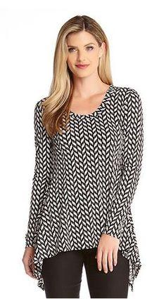 Love this Fabric! Super Slimming Black and White Handkerchief Top Fashion #Slimming #Fashion #Design