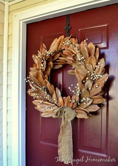 Magnolia wreath... This is so beautiful! I can't wait to attack my magnolia tree and have it on my door for the holidays. :)