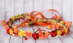 Autumn Flower crown, Hair wreath Halo, Floral headpiece, Orange and red halo photo prop, Floral Crown, Fall wedding accessory, Fall crown by LuckyKidsHandmade on Etsy https://www.etsy.com/listing/235682557/autumn-flower-crown-hair-wreath-halo
