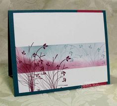 TLC381 Half It  Rich Razzleberry- sponged, masked and silhouette stamps