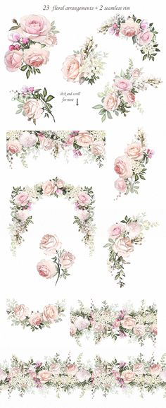 Floral Design set by LisimArt on Creative Market - Love & Roses. Floral Design set by LisimArt on Creative Market Love & Roses. Floral Design set by L - Wedding Card Design, Wedding Invitation Design, Wedding Cards, Floral Invitation, Design Set, Design Ideas, Stand Design, Booth Design, Banner Design