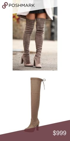 """RESTOCKED Taupe Suede Over The Knee Boots 5.5-10 VERY LIMITED QUANTITIES! Brand New in Box!!  Boho Taupe Vegan Suede Over The Knee Boots, 4"""" heel, tie at top to loosen or make tighter, very fitted pull on style, does have some stretch, height from top of heel to top of boots is around 20"""", tending to run small, consider sizing up.  Available in size 5.5, 6, 6.5, 7, 7.5, 8, 8.5, 9, or 10.  NO TRADES, PRICE FIRM UNLESS BUNDLED!! BUNDLE 3 OR MORE ITEMS FOR 15% OFF. Boutique Shoes Over the Knee…"""