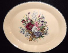 """Home and Garden Party FLORAL Oval Serving Platter Floral Center Interior, Sponge Rim, Dinnerware, Hand Made in USA, 12 1/2"""" diameter by libertyhallgirl on Etsy $31.99 each"""