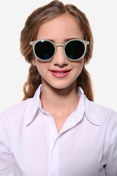Oversized Round Gray Sunglasses