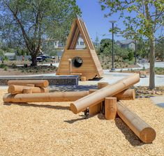 Classic TimberForm Birdhouse and Log Scramble Kids Outdoor Playground, Playground Design, Children Playground, Playground Ideas, Cool Playgrounds, Natural Playgrounds, Kids Play Equipment, 100 Acre Wood, Kids Play Area