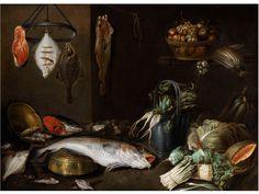 Alexander Adriaenssen, Antwerp 1587 - 1661 STILL LIFE WITH BIG FISH, FRUIT, VEGETABLES AND KITCHEN APPLIANCE