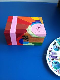 woden gift box handpainted Hand Painted, Paper, Box, Gifts, Painting, Snare Drum, Presents, Painting Art, Paintings
