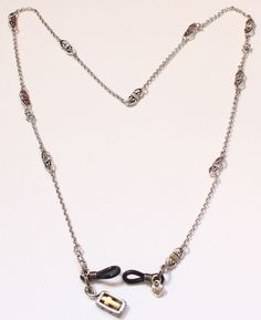 "BRIGHTON Signed Silver Tone Eyeglass Holder or Chain 24"" #Brighton"