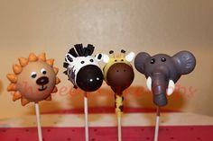 Zoo animals cake pop