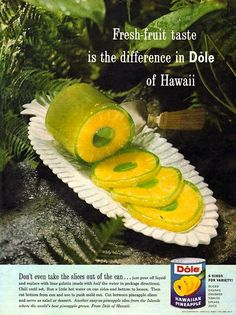 Dole Pineapple and Jello in a Can Don't even take the slices out of the can! Pour your jello into the can around the drained slices, chill, and then slice. Midcentury Modern, Gelatina Jello, Pineapple Jello, Orange Jello, Hawaiian Luau Party, Hawaiian Desserts, Jelly Desserts, Jello Recipes, Sweets
