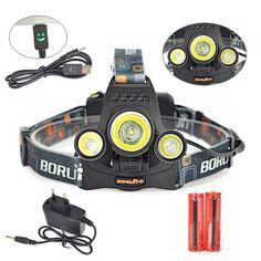 LED USB Headlight 6000 Lumen Head Lamp Flashlight Torch Light Headlamp with Battery + Charger