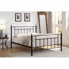 Black Metal King Size Bed Frame with Brushed Brass Knobs Metal Double Bed, Black Metal Bed Frame, Double Beds, Weird Beds, Buy Beds Online, Brass Bed, Brass Metal, King Size Bed Frame, Upholstered Platform Bed