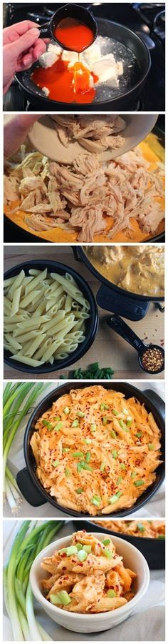Buffalo chicken pasta,Ingredients: 2 cups shredded chicken breasts (boil or pressure cook 1 lb of chicken and shred) 8 oz cream cheese 1/3 cup buffalo sauce 1/2 cup chicken broth 1 tsp paprika 1 tsp garlic powder 1/2 tsp black pepper 1/2 tsp kosher salt 3/4 cup blue cheese dressing 12 oz uncooked penne pasta .