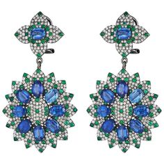 18k White gold drop earrings set with emeralds, kunzite and diamonds created by Jewels by Viggi via 1stdibs