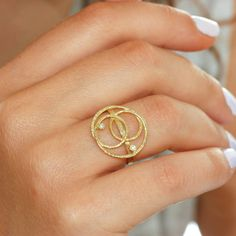 Geometric gold ring 14K solid gold ring two by KyklosJewelryLab