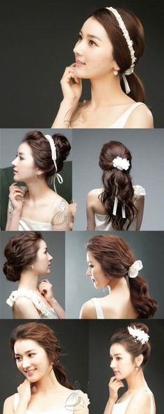 Korean Inspired wedding hairstyles, which one you like? #wedding #hair