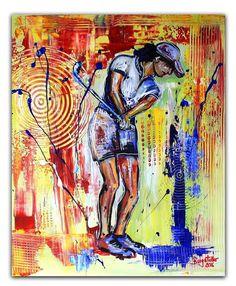 BURGSTALLER ORIGINALGolf Gemälde Bild Golfer Golfspieler Malerei Turnierpreis 72
