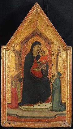 Goodhart Ducciesque Master:  Madonna & Child Enthroned with Two Donors  (ca. 1315-30, Siena, tempera on wood with gold ground, the Metropolitan Museum of Art, New York)