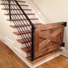 X-Design Baby & Pet Gate – Rustic Luxe Designs Staircase Makeover, Basement Makeover, Staircase Remodel, Basement Storage, Tv Storage, Staircase Design, Rustic Staircase, Staircase Gate, Diy Stair Railing