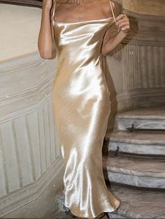 b9ccc325ba Golden Satin Look Open Back Chic Women Bodycon Cami Maxi Dress