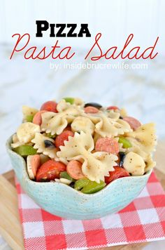 Pizza Pasta Salad - pasta salad with mini pepperoni and all the veggies from a pizza  http://www.insidebrucrewlife.com