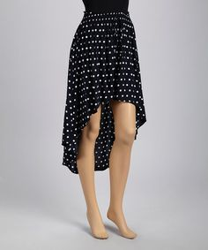 Take a look at this Navy Polka Dot Hi-Low Skirt by Basil & Lola on #zulily today!