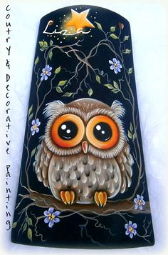 E-Pattern : Lucky Owl by Liza Design. E-Pattern : Lucky Owl by Liza Design. Decorative Painting Projects, Tole Painting Patterns, Pottery Painting Designs, Stone Painting, Painting On Wood, Fan Blade Art, Pintura Country, Country Paintings, Bottle Painting