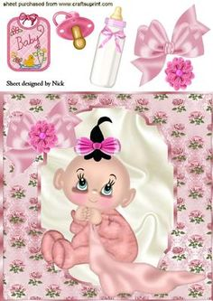 BABY GIRL IN ROSE FRAME WITH ACCESSORIES 8X8 on Craftsuprint - Add To Basket!