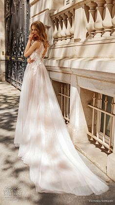 victoria soprano 2019 bridal sleeveless ribbon straps v neck heavily embellished bodice romantic soft a  line wedding dress keyhole back chapel train (16) bv -- Victoria Soprano 2019 Wedding Dresses | Wedding Inspirasi #wedding #weddings #bridal #weddingdress #bride ~