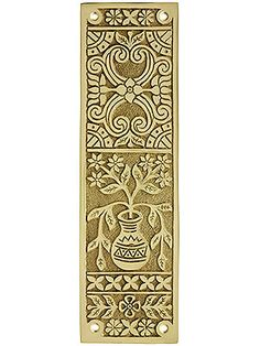 Eastlake Victorian Push Plate In Solid, Cast Brass Olympic Colors, Antique Hardware, Pocket Doors, Blooming Flowers, Decorative Tile, Accent Colors, Centerpieces, It Cast, Victorian