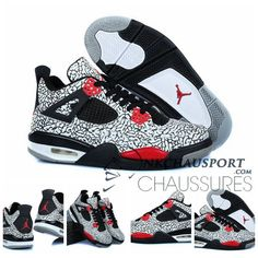 Nike Air Jordan 4 | Classique Chaussure De Basket Homme Bleu Clair Noir Bande