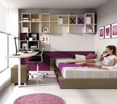Dormitorio juvenil para 2 espacios compartidos optimizando el espacio cajones contenedores en - Chambre avec estrade ado ...