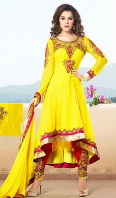 Gorgeous Yellow Designer Churidar Suit Price: Usa Dollar $129, British UK Pound £75, Euro94, Canada CA$138 , Indian Rs6966.