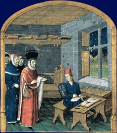 Patron visiting a scribe/illuminator in his workshop, by Jean Fouquet. Giovanni Colonna, Mare historiarum, ouest de la France (Angers ?), milieu XVe siècle. Paris, BnF, département des Manuscrits, Latin 4915, fol.1. The patron is Guillaume Jouvenel des Ursins.