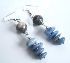 Boucles d'oreille Labradorite et sodalites bleues par Adrimag
