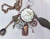 Steampunk Necklace of Vintage Watch Works, Angel Wing, Gears, Skeleton Key, Lock, Spoon