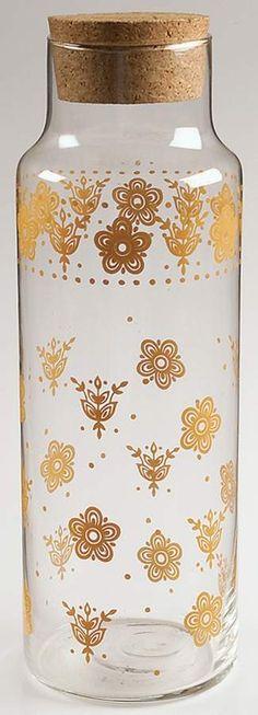 Butterfly Gold (Corelle) Glassware Bottle with Cork Stopper by Corning Vintage Glassware, Vintage Pyrex, Butterfly Gold, Cork Stoppers, China Dinnerware, Vintage Kitchen, Pottery, Dishes, Bottle