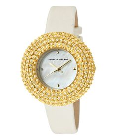 Take a look at this Jonquil & Gold Stainless Steel Round Satin Watch by Kenneth Jay Lane on #zulily today!