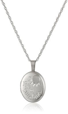 Ladies' Sterling Silver Oval Pendant with 'You are My Sunshine' Locket Necklace, 18' * You can find out more details at the link of the image.