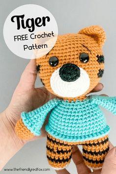 Free tiger crochet pattern. Easy to read pattern! Great pattern for beginner and intermediate crochet levels. Crochet Animal Patterns, Stuffed Animal Patterns, Crochet Animals, Cute Crochet, Crochet Hats, Free Pattern, Lettering, Easy, Color