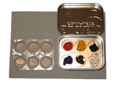 """Travel watercolor set. I like this one  using """"throat lozenges"""" plastic tray as a paint tray!"""