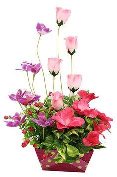 Arreglo de flores color rosa centro de mesa para - Macetas para centros de mesa ...