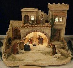 Christmas Tree Village Display, Christmas Nativity Scene, Christmas Villages, Christmas Art, All Things Christmas, Nativity Stable, Nativity Crafts, Christmas Crib Ideas, Christmas Decorations