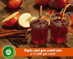 Warm spiced #apple cider makes #autumn evenings more cozy.  Visit link for sweepstakes information: https://www.airwick.us/repin_to_win.php