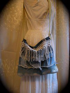 PHOTO INSPIRATION....Upcycled Denim Purse, handmade white fringe lace, tattered frayed recycled fabric bag. $50.00, via Etsy.