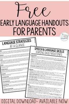 Free Early Language Handout for Parents - speech therapy Preschool Speech Therapy, Speech Therapy Activities, Speech Language Pathology, Language Activities, Speech And Language, Speech Therapy Shirts, Preschool Songs, Handout, Daily Routines