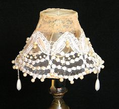 Mintook- Vintage Table Lamp Shade in Tea colors, antique lace and workbeads.