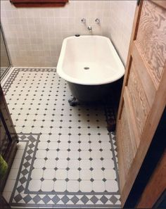 Vintage bath- grey + white tiles by Winckelmans add Victorian flair to this bathroom floor. The Glasgow border, dot and octagon pattern are authentic period details. Victorian Tiles, Victorian Bathroom, Victorian Hallway, Bathroom Floor Tiles, Laundry In Bathroom, Bathroom Interior, Interior Design Living Room, Tiled Hallway, Edwardian House