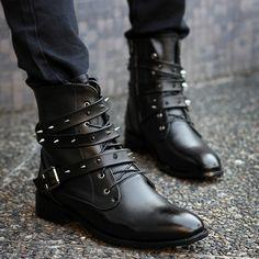 Black Rivets Strap Buckled Martin Men's Boots